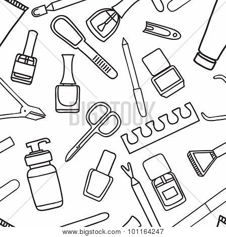 Vector Seamless Pattern Of Manicure And Pedicure Doodle Equipment.
