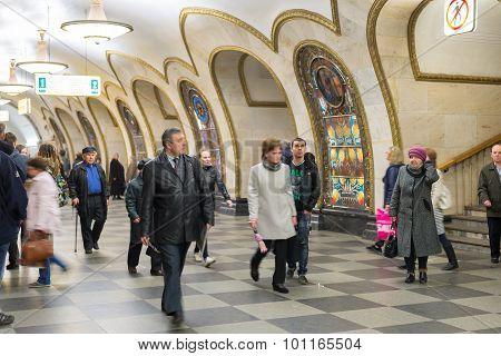Moscow, Russia -27.04.2015. Subway Stations Novoslobodskaya. Moscow Metro Carries Over 7 Million Pas
