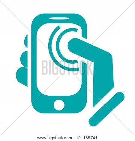 Cell Phone Touch Screen Notifications Concept Icon. Touch Screen Cell Phone And A Hand...