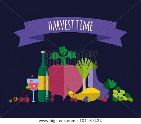 Harvest Food Vector Icons Objects