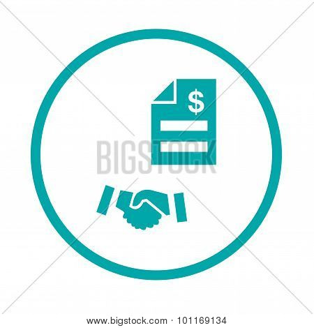 Handshake and bill icon. liabilities funding concept icon. Stock illustration flat design icon