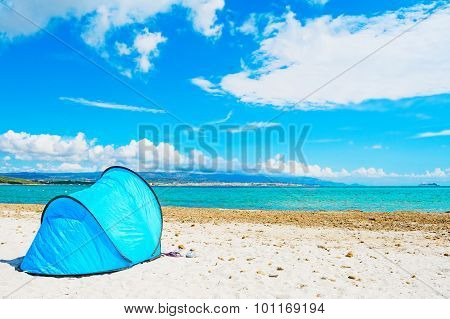 Blue Tent By The Sea In Alghero
