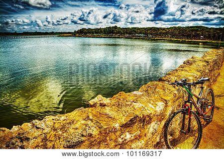 Mountain Bike On A Dirt Path By Calik Lagoon
