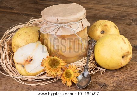 pears fruit compote decorated in rustic style