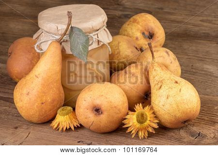 homemade pears compote or jam rustic still life
