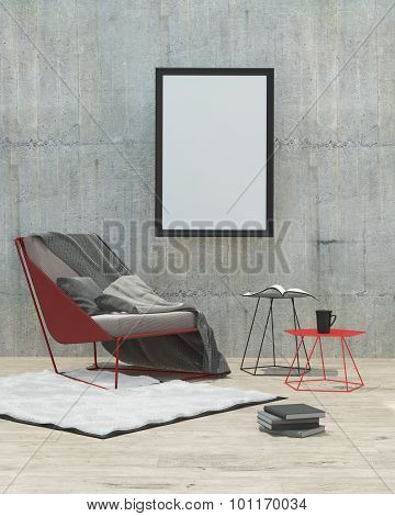 Mock Up Poster Frame In Modern Interior Background, Render