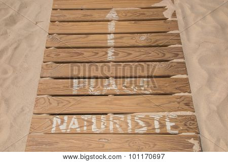 Wooden Walkway On Naturist  Beach