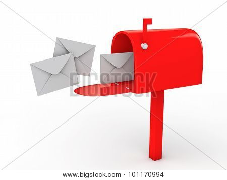 3d mail box and envelopes
