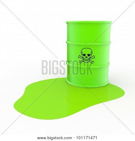 3d green toxic material and barrel