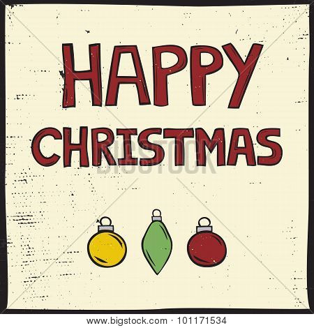Linocut Style Christmas Card