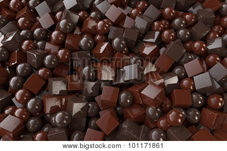Chocolate cubes and balls