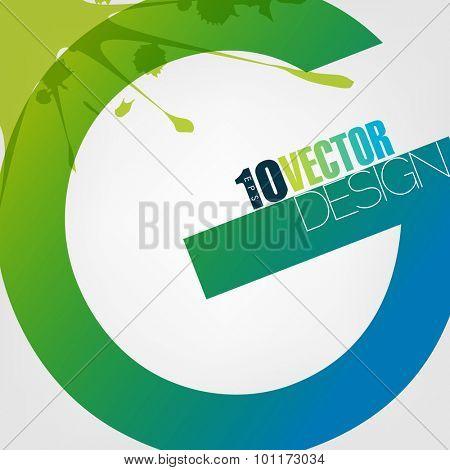 alphabet letter G paint splatter ink paint blue green, eps10 vector
