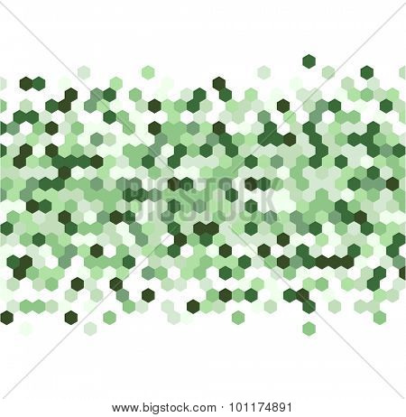 Grainy pattern composed of green hexagones. Honeycomb vector background.