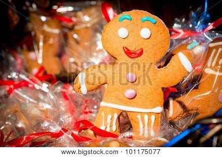 Christmas Gingerbread Man Cheery Photograph Closeup