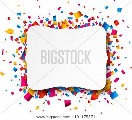 Colorful celebration background. Paper note with confetti. Vector Illustration.