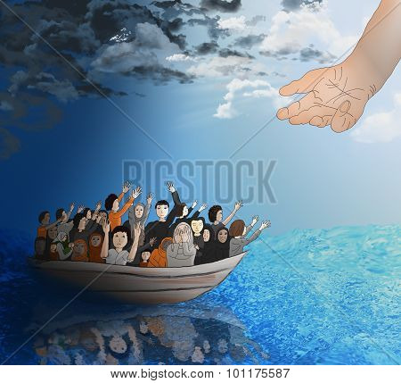 Refugees On A Boat