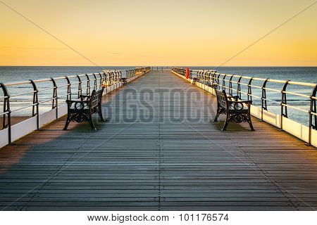 Sunset Pier At Saltburn By The Sea