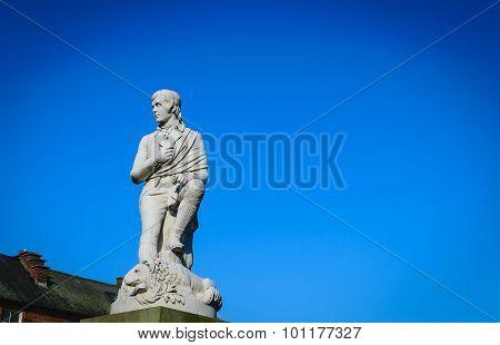 Robbie Burns Statue At Dumfries, Scotland.