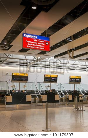 Airport Check In Desks And Customs Sign