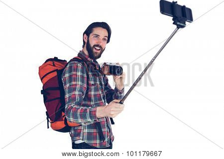 Excited man talking selfie against white background