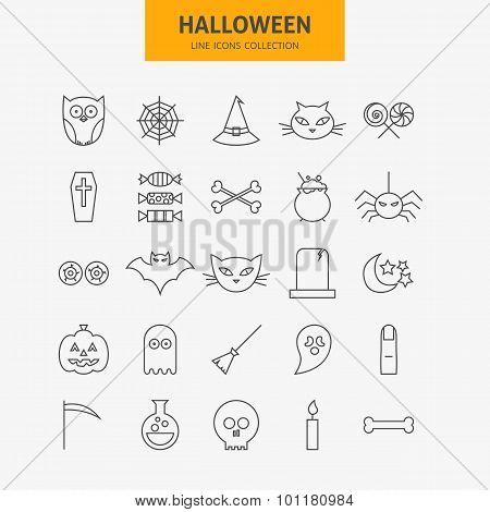 Line Halloween Icons Big Set