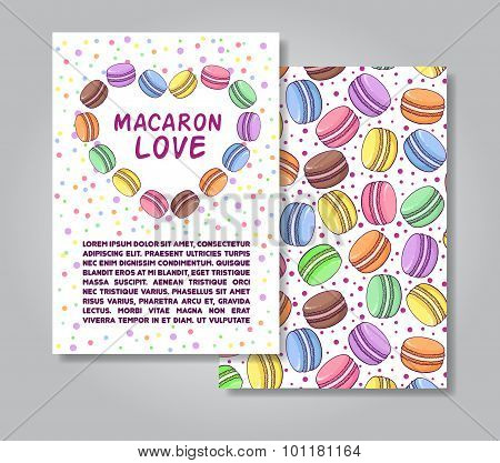 Two sides invitation card design with macaroon