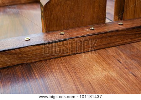 Abstract wooden background. Handmade table details close-up view.
