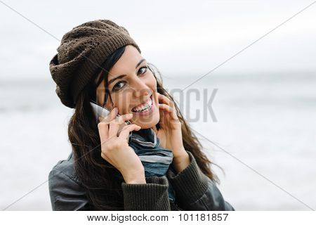 Casual Woman On Smartphone Call