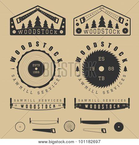 Set Of Vintage Sawmills Labels, Emblems, Logo, Badges And Design Elements