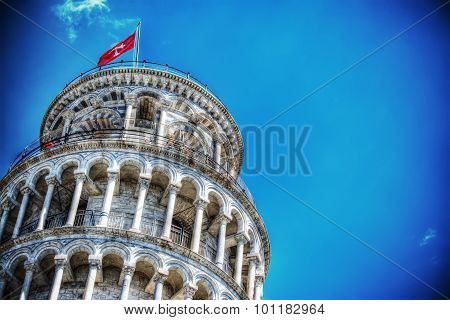 Close Up Of Pisa Leaning Tower In Hdr