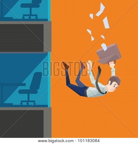 Man in office wear falls from a building