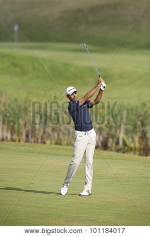 PARIS FRANCE, 03 JULY 2009. Jyoti Randhawa (IND) competing in the 2nd round of the PGA European Tour Open de France golf tournament.