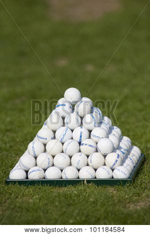PARIS FRANCE, 02 JULY 2009. a pyramid of practice ball on the range during the 1st round of the PGA European Tour Open de France golf tournament.