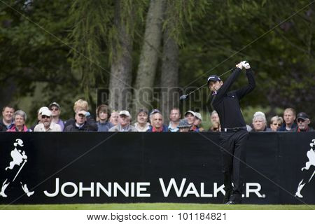 Aug 30 2009; Gleneagles Scotland; Gregory Bourdy (FRA) teeing off on the 1st tee competing in the final round of the European Tour Johnnie Walker Championship.