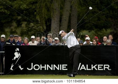 Aug 30 2009; Gleneagles Scotland; Richard Bland (GBR) teeing off on the 1st tee competing in the final round of the European Tour Johnnie Walker Championship.