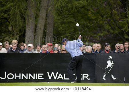 Aug 30 2009; Gleneagles Scotland; Paul Lawrie (GBR) teeing off on the 1st tee competing in the final round of the European Tour Johnnie Walker Championship.