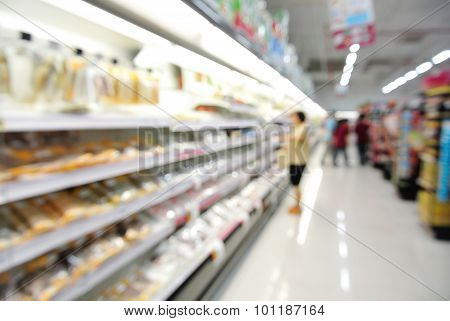 Abstract Blur Or Defocus Background Of People Shopping In Supermarket