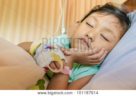 Sick Asian Little Girl Patient Sleeping In Hospital