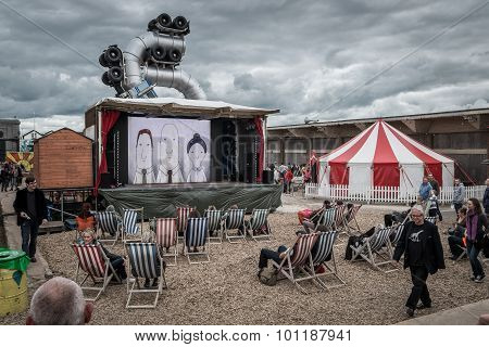 Outdoor Cinema At Banksy's Dismaland Bemusement Park.