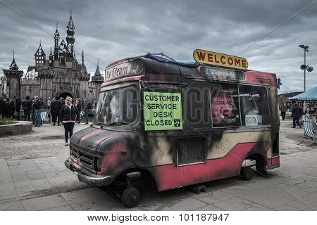 Burnt Out Ice Cream Van At Banksy's Dismaland Bemusement Park.