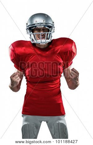 Irritated American football player in red jersey screaming against white background