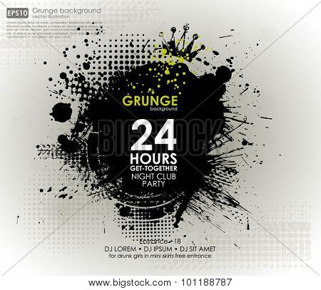 Poster Grunge background vector. Grunge print for t-shirt. Abstract dirt backgrounds texture. Grunge banner with an inky dribble strip with copy space. Abstract background for party