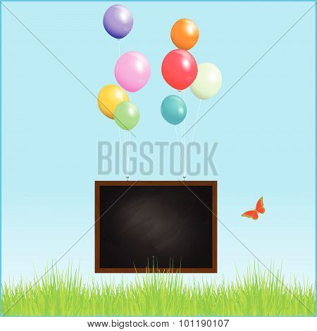 Flying Blackboard With Balloons