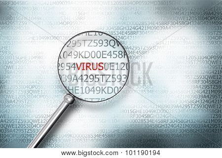 Reading The Word Virus On Computer Screen With A Magnifying Glass