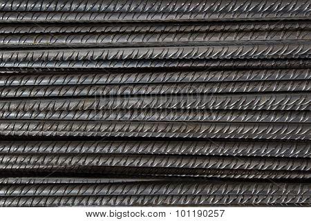 Artistic steel bars closeup, reinforcement on construction site, editable background.