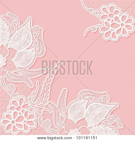 Lace Background With Space For Text. Template Wedding Invitation Or Greeting Card With An Openwork P