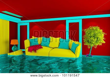 Colorful living room with floating furniture after water damage (3D Rendering)