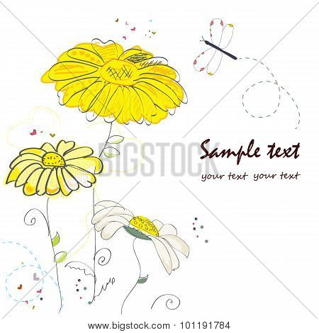 Daisy flower doodle greeting card vector
