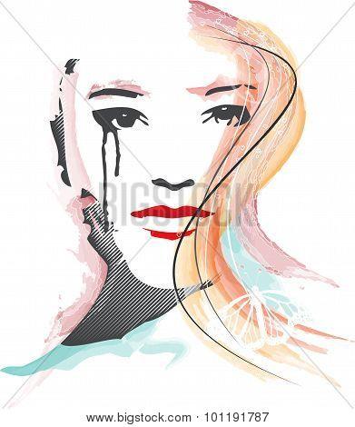 Feminous face watercolor illustration
