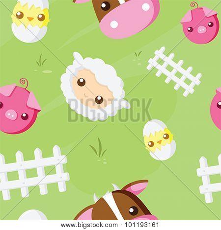 Cute farm animal repeat pattern